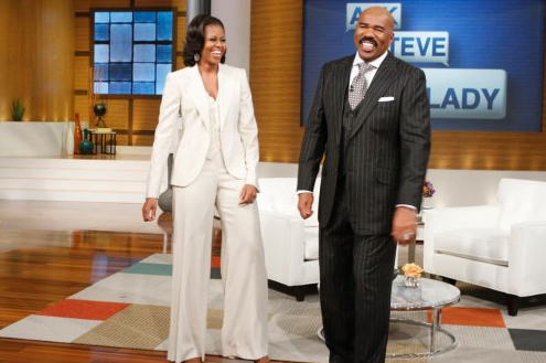 Steve Harvey and Michelle Obama discuss she and Barack Obama's 20th Wedding Anniversary on Steve Harvey's New Daytime Show