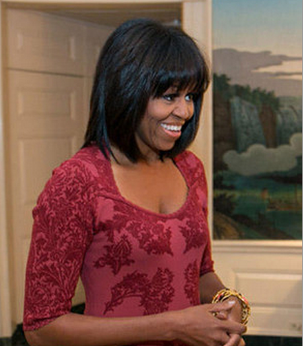 First Lady Michelle Obama celebrated her 49th birthday with a new hairdo.
