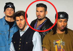 Bryan Abrams (circled in red) of 1990s R&B group Color Me Badd