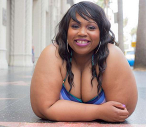 Amani Terrell is a 265 pound woman who posed in a two piece swimsuit in Hollywood. www.naturallymoi.com